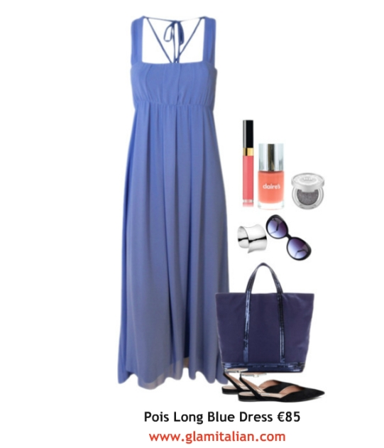 Pois Long Blue dress collage