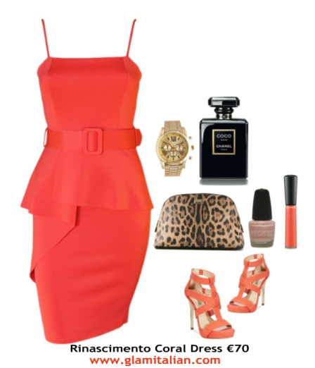 rinascimento coral dress collage